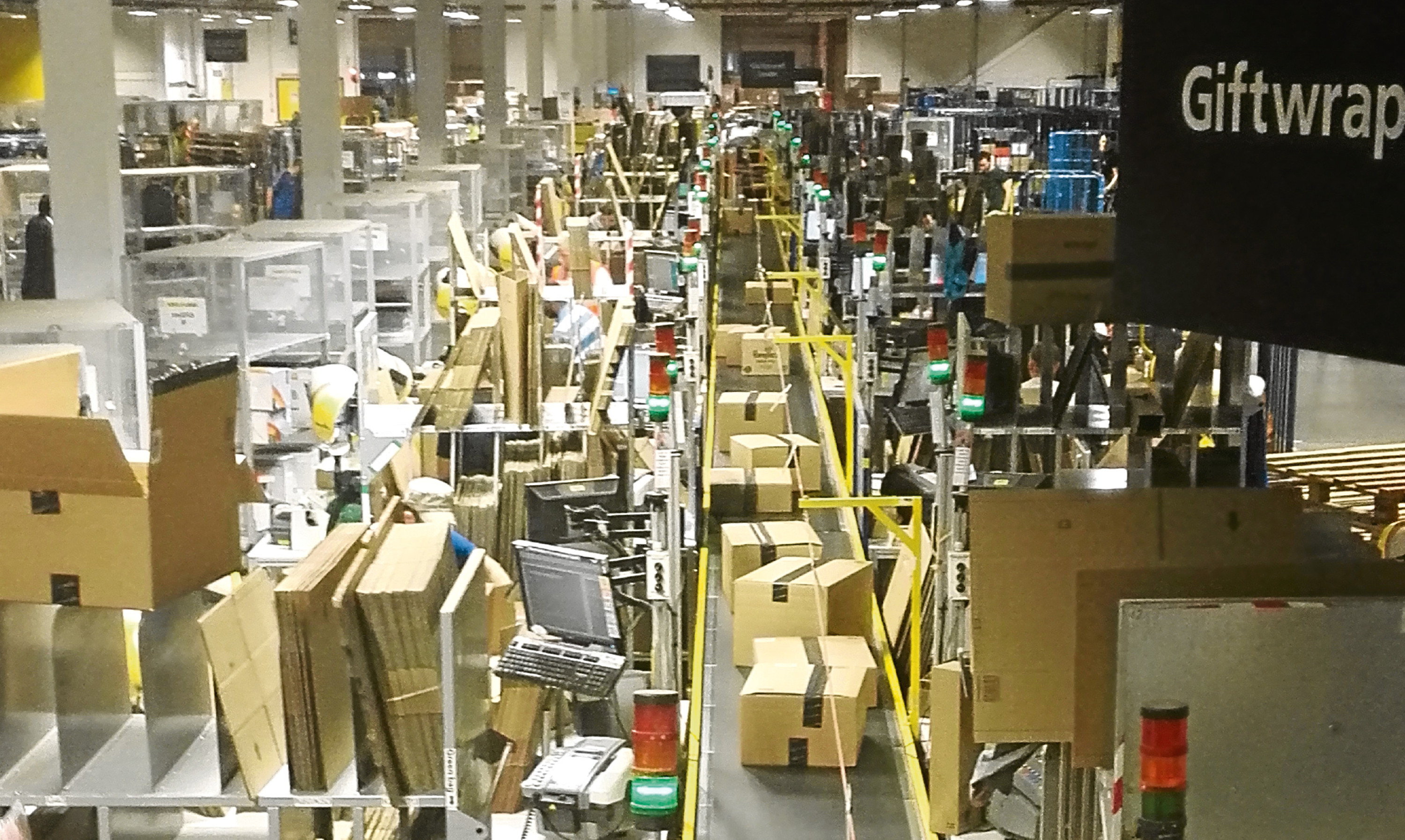 Neverending: the constant flow of items along the gift-wrapping line at Amazon's Dunfermline fulfilment centre