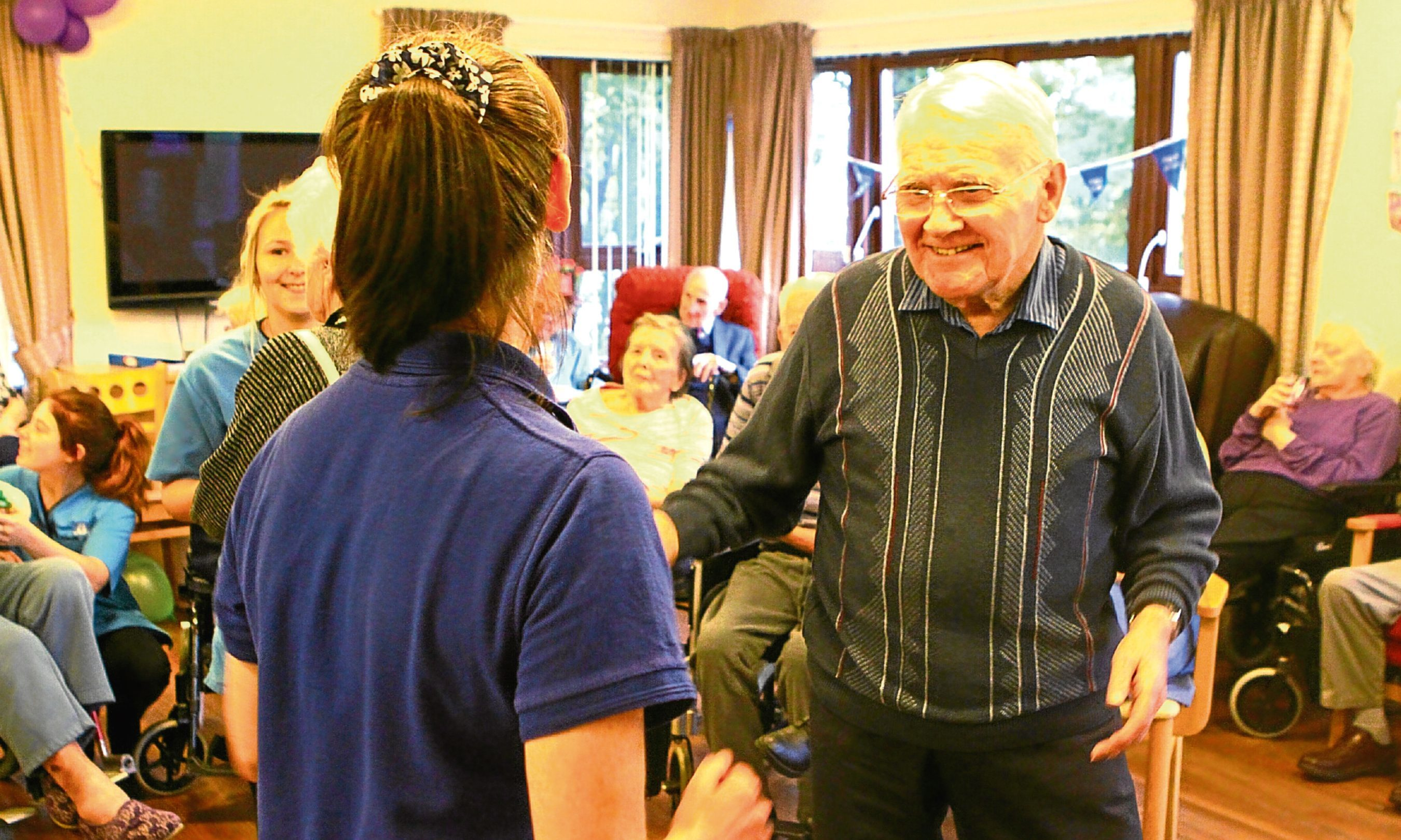 Some of the residents of the Balhousie Antiquary Care Home enjoying their Wednesday afternoon entertainment.