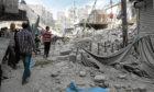 Destruction in war-torn Syria in 2016