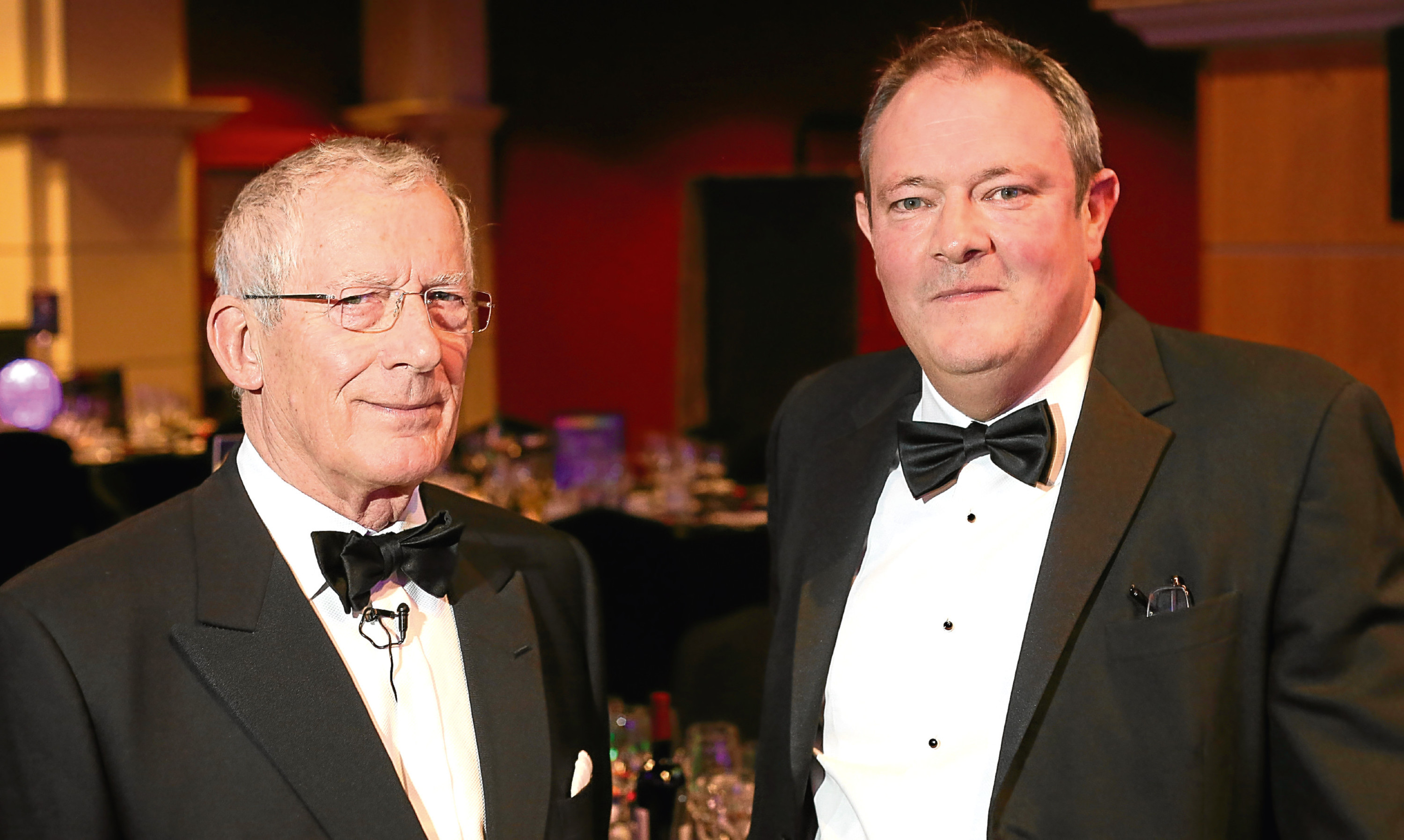 2015 Courier Business Awards host Nick Hewer with Courier Editor Richard Neville.