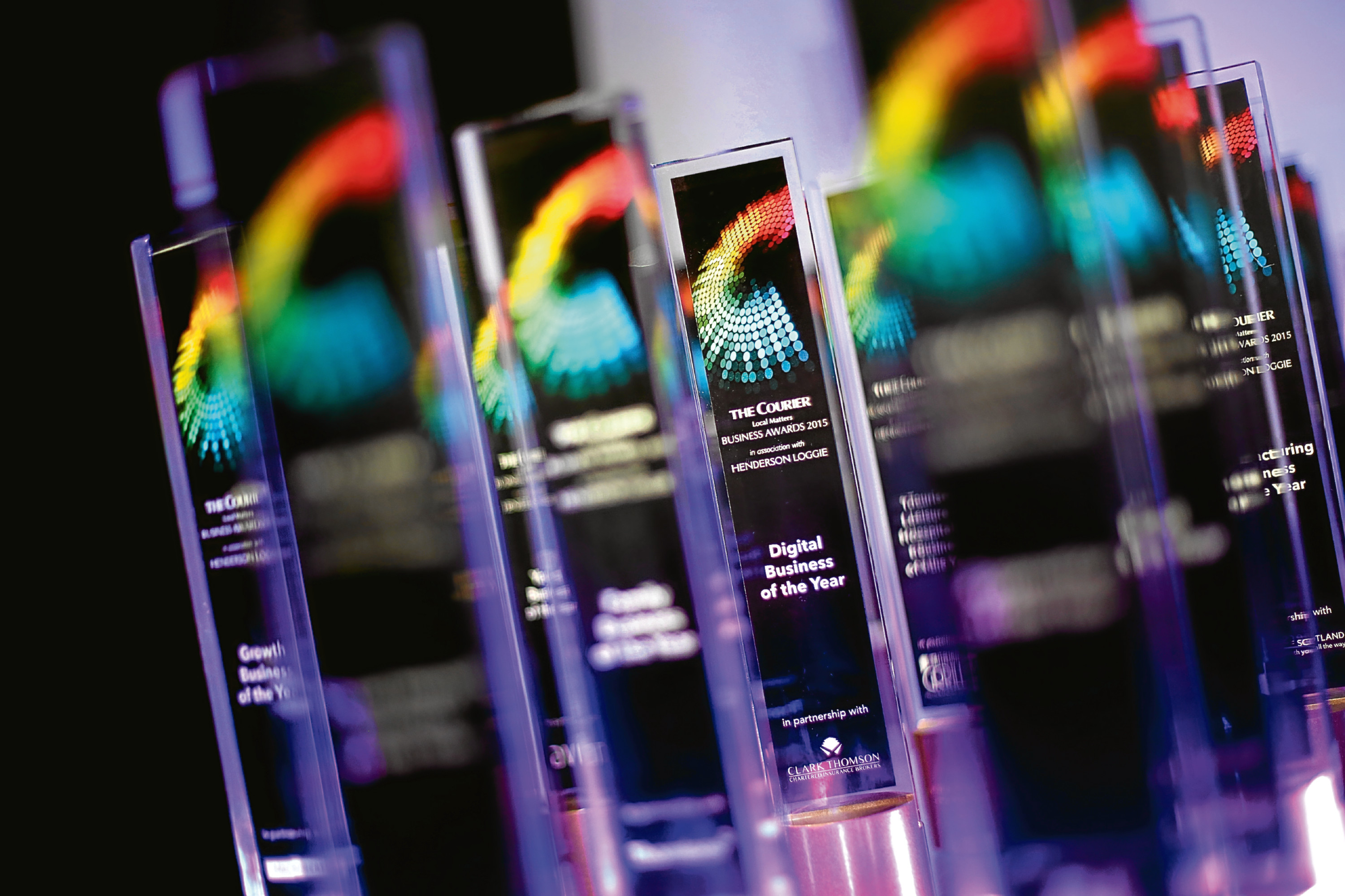 2015 Courier Business Awards trophies