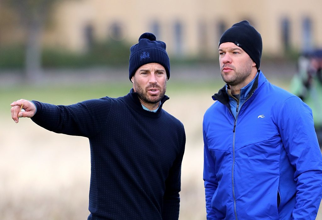 Jamie Redknapp and Michael Ballack on the second tee of the Old Course on Thursday