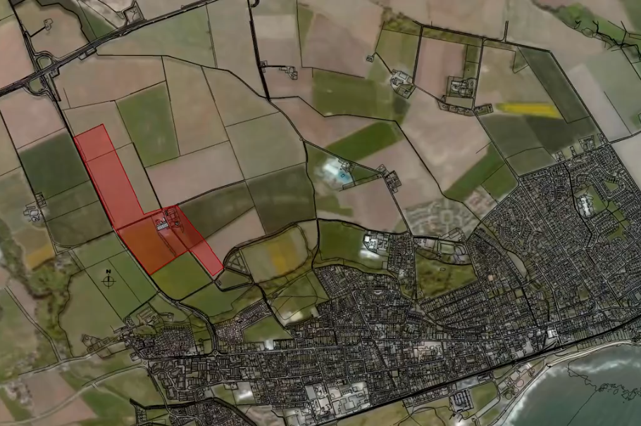 An artist's impression of the Pitskelly site area in red.