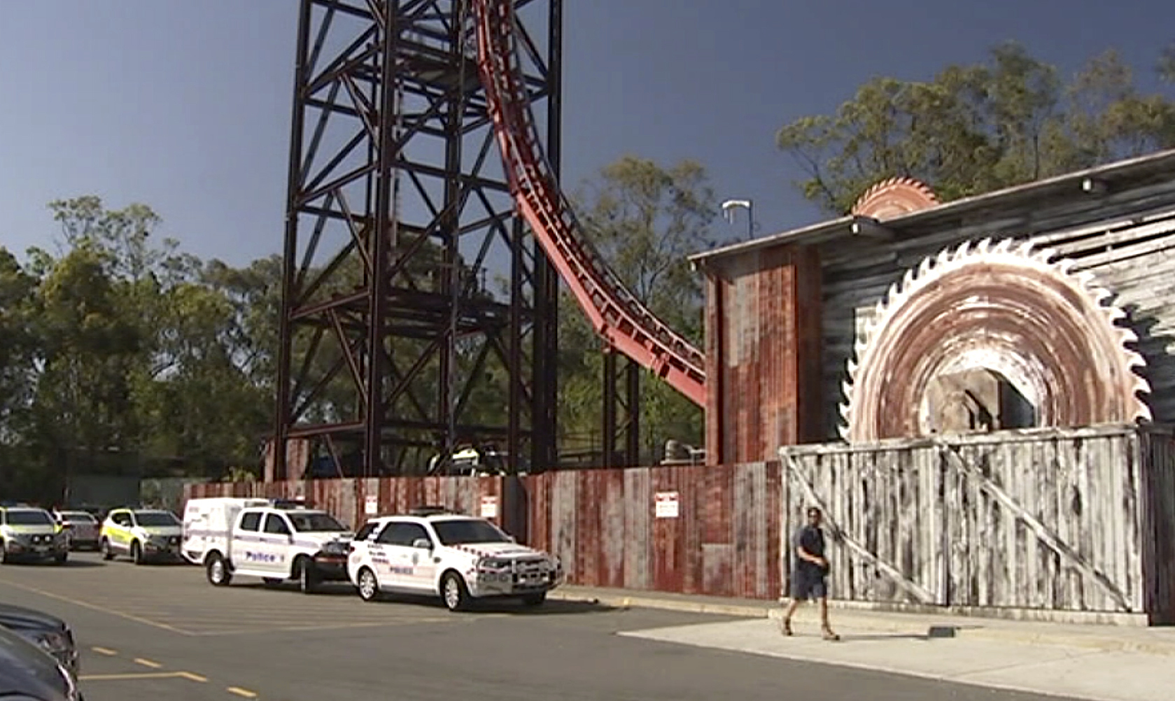An image from video showing rescue vehicles parked outside Dreamworld on the Gold Coast.