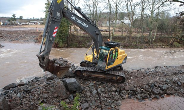 Past work carried out on the River Almond following flooding.