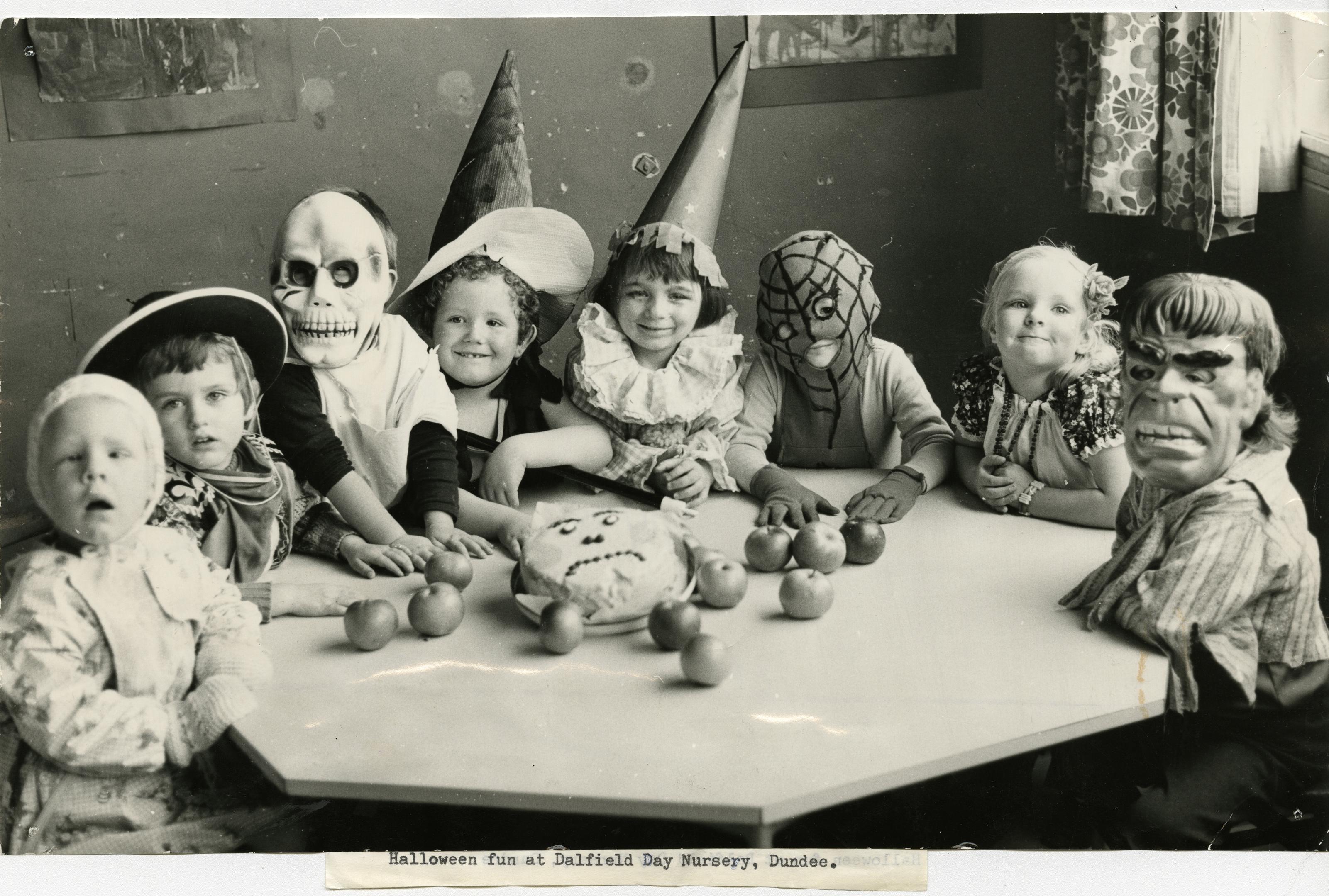 Children enjoying Halloween at Dallfield Day Nursery, Dundee. October 31, 1978.