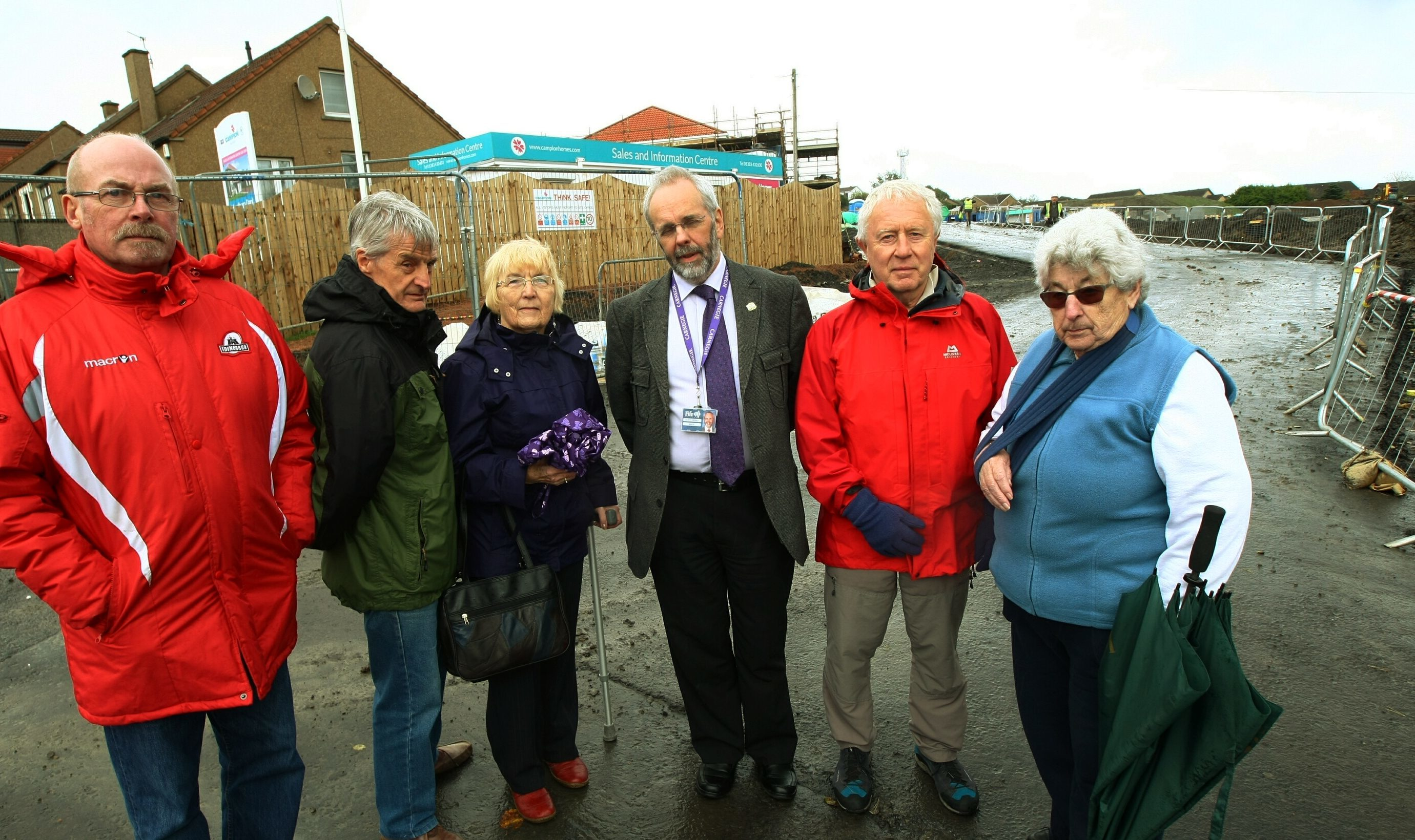 Bellyeoman Community Council secretary John Dudgeon, members Keith and Anne Ormond, Councillor William Campbell, Ken Barker from the community council and its chairperson Wilma Allday.