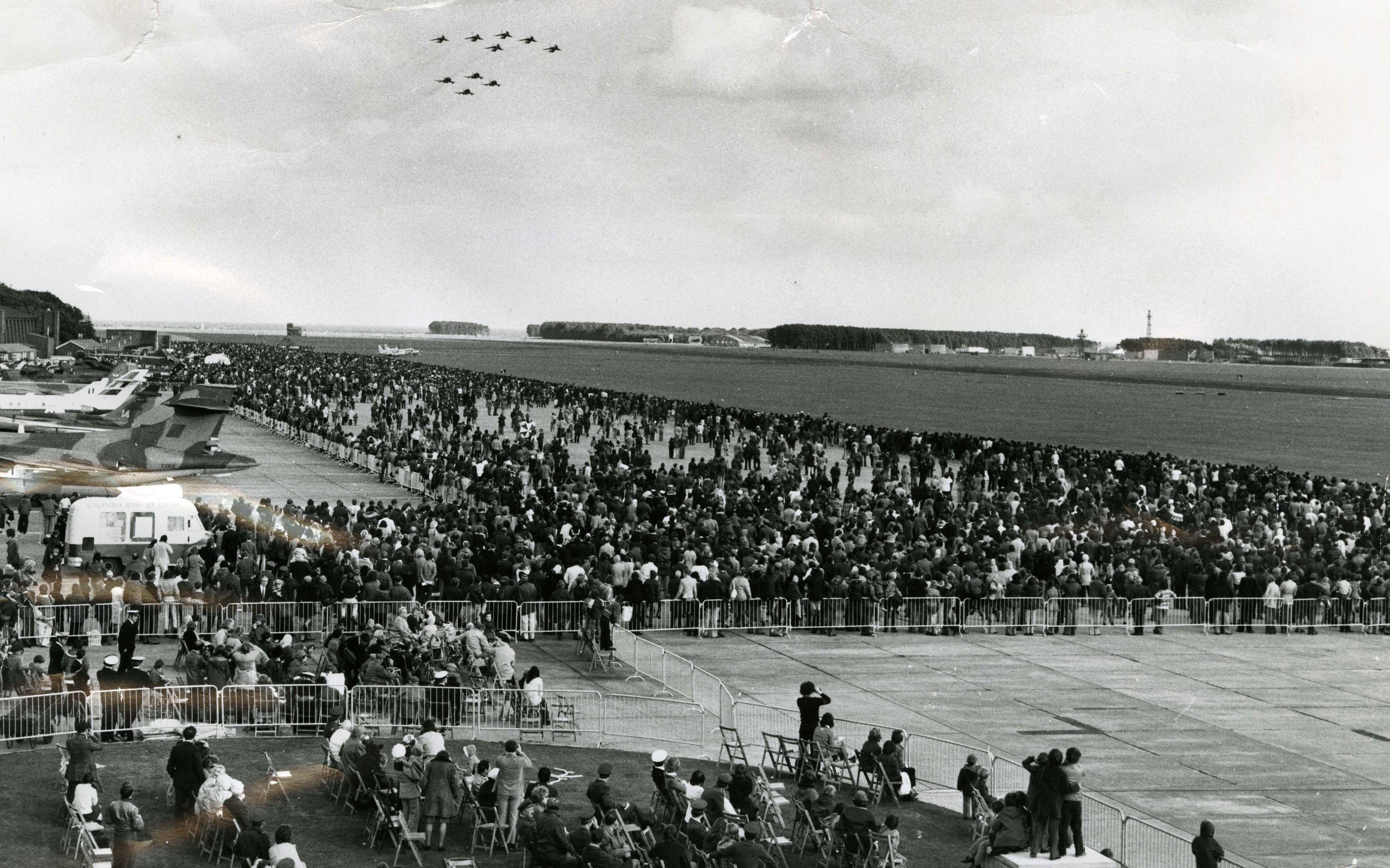 """The 23 Squadron and Phantoms of the 23 Squadron """"flypast"""" the large crowds at RAF Leuchars air show.  20 September 1975."""