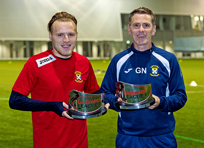 East Fife's Jamie Insall with his Ladbrokes League One Player of the Month award and manager Gary Naymith with his Manager of the Month award for September