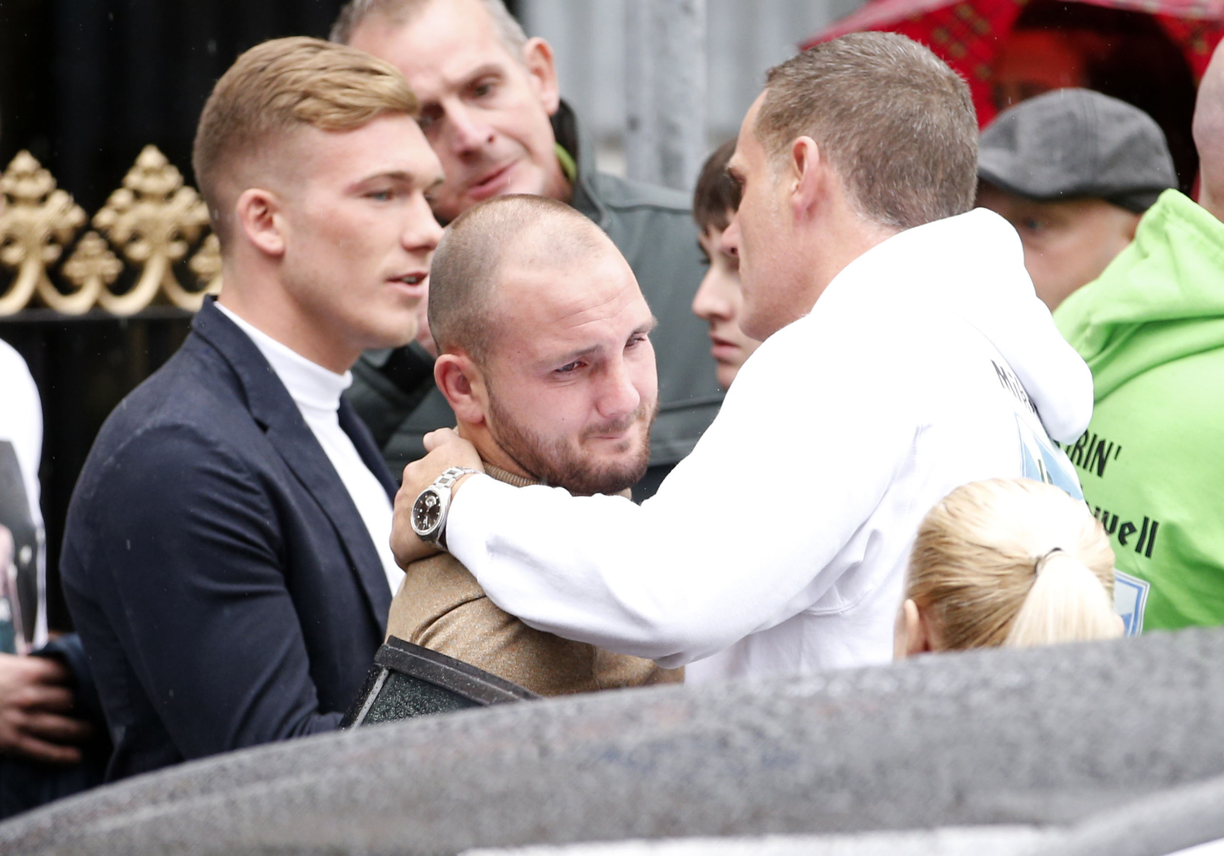 Boxers Nick Blackwell (left) and  Dale Evans (centre) during the funeral of boxer Mike Towell.
