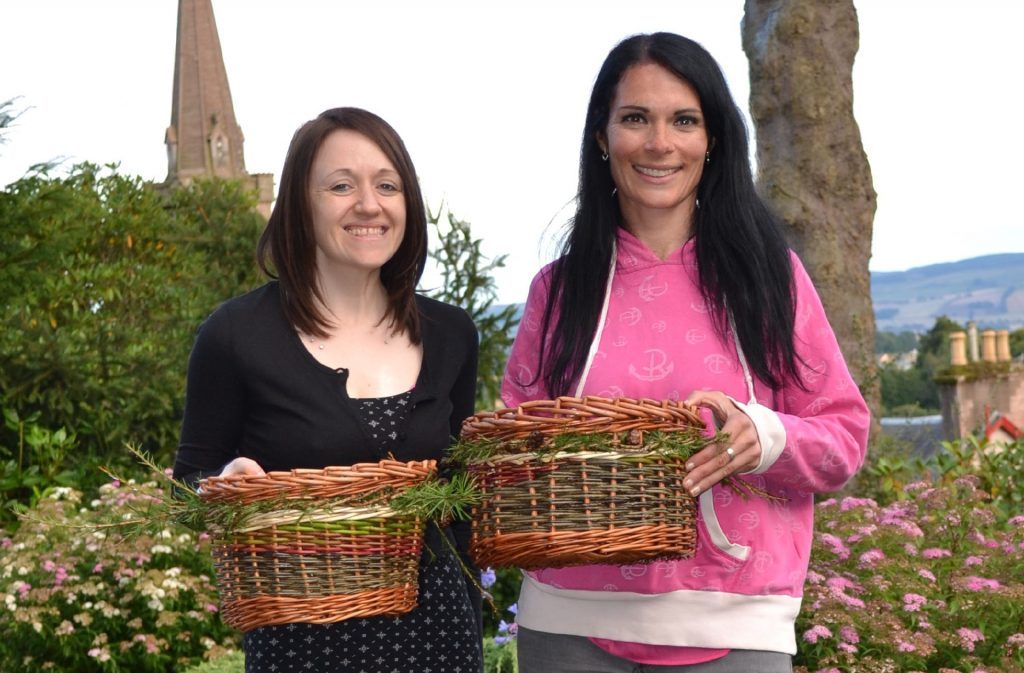 Works of art - Paula and Gayle with their hedgerow baskets.