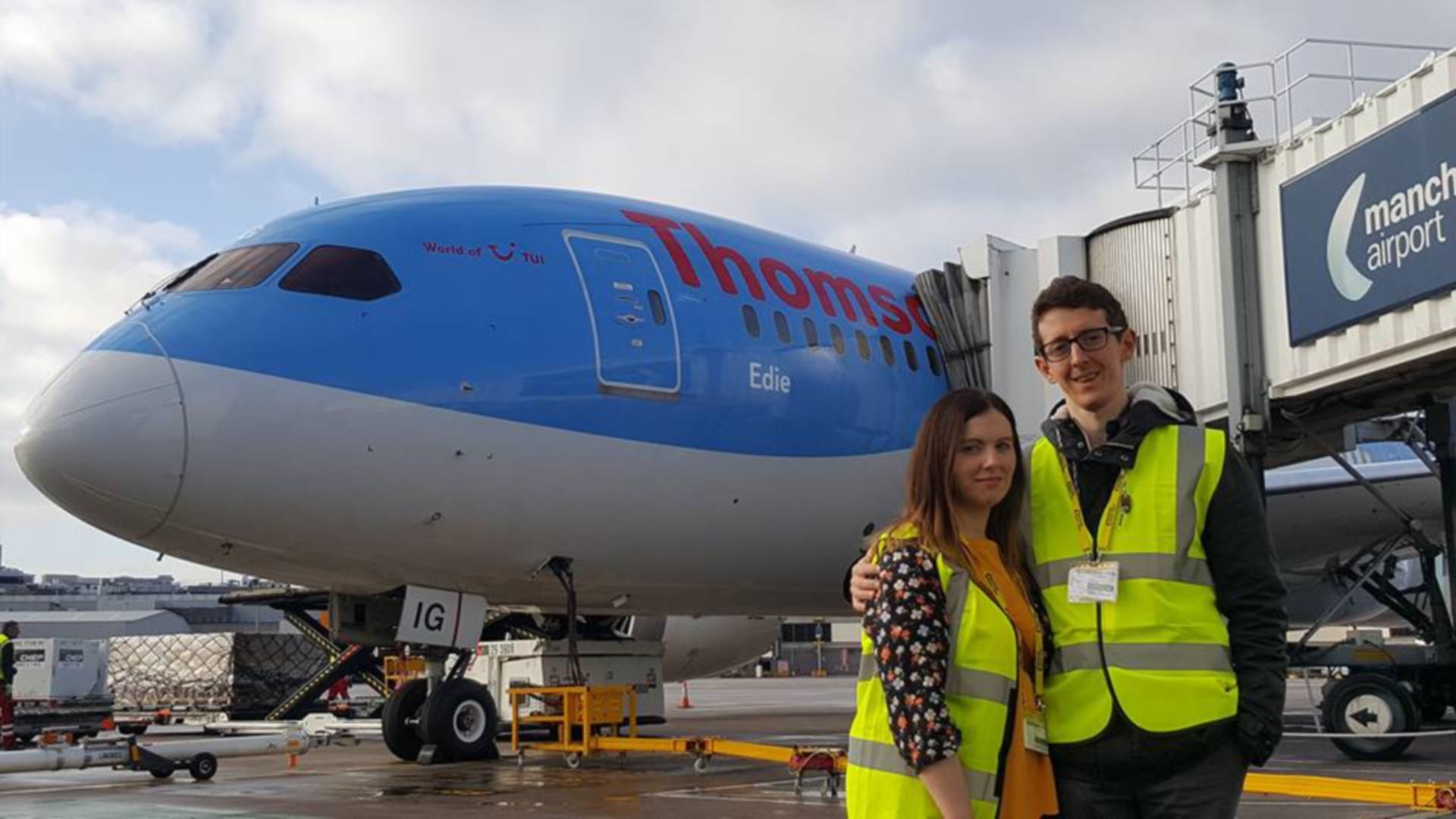 Cheryl and Tom Murphy with the plane named after daughter Edie