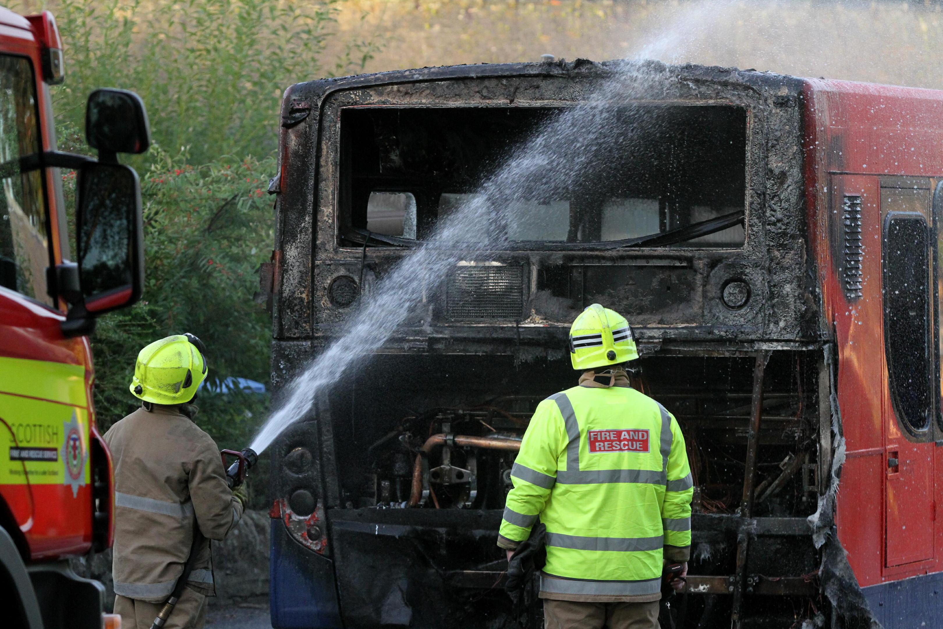 Firefighters attend the bus blaze in Longforgan.