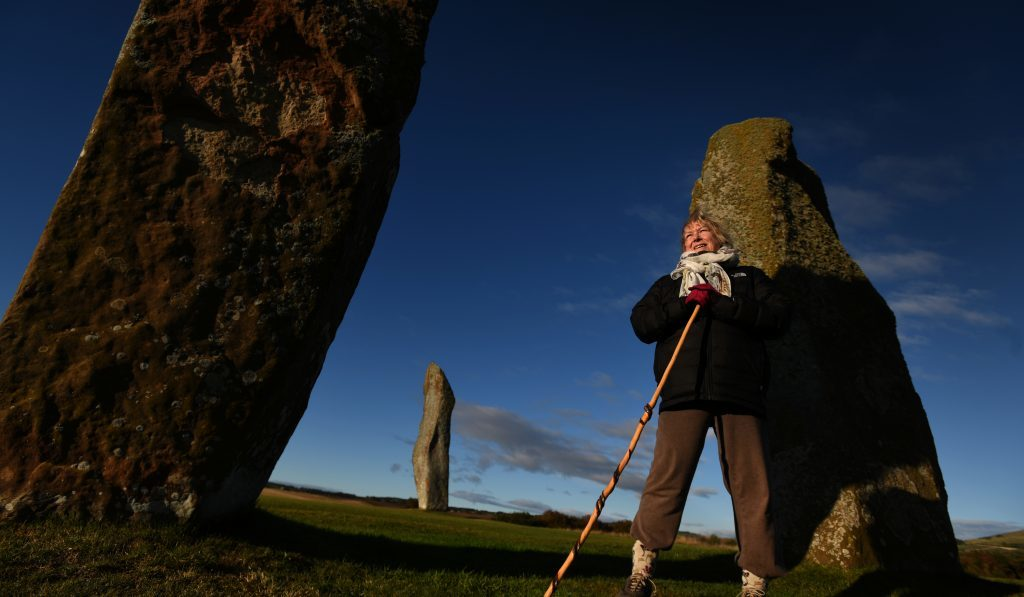 White witch Marianna Lines at Lundin Links Standing Stones