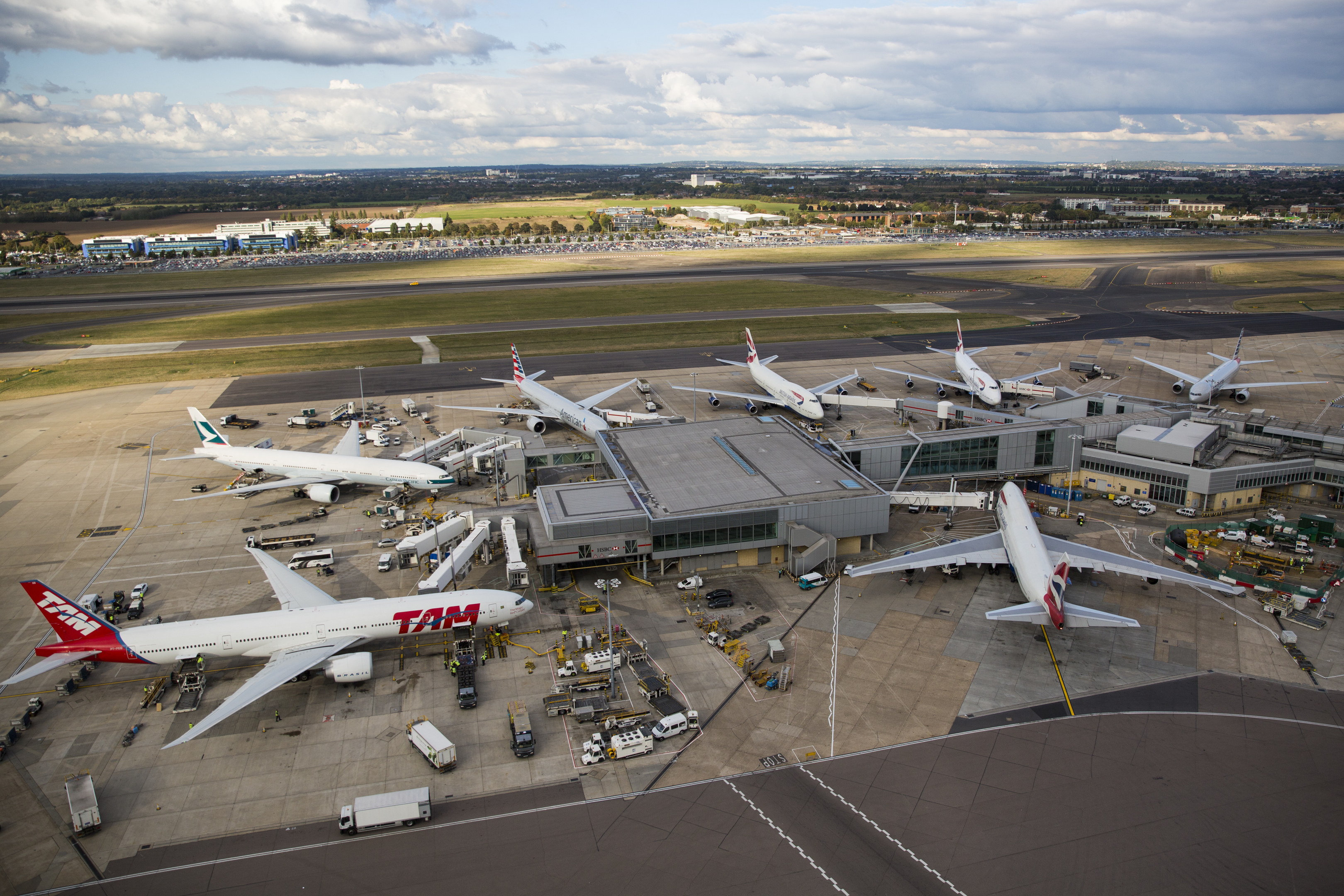 Planes on stand at Heathrow Airport