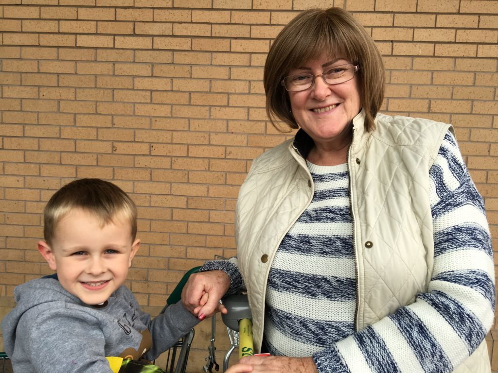 Maureen Swan, 58, from Birkhill, with her four-year-old grandson Jonathan.