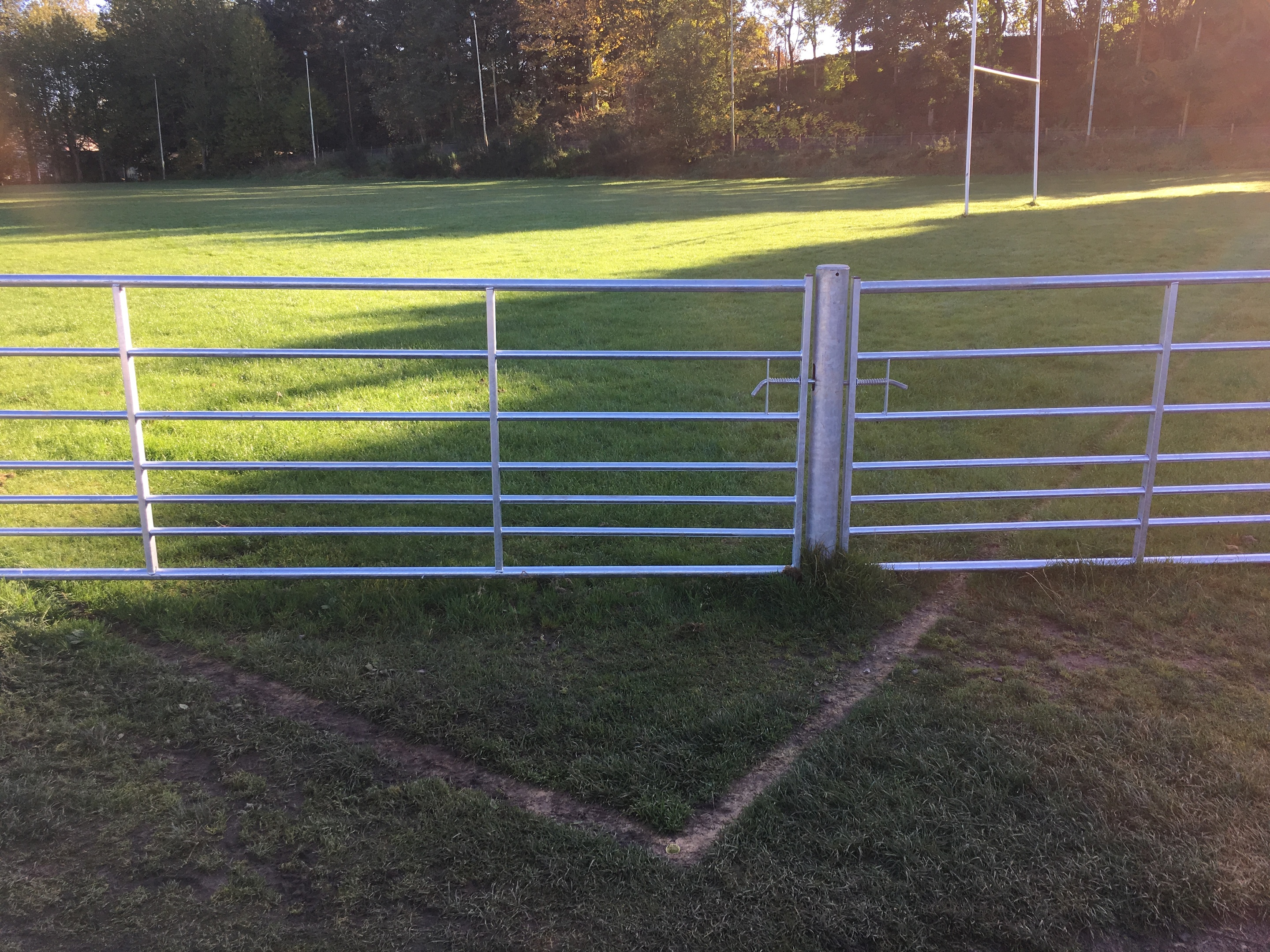 The gate which cuts across the rugby pitch at Inchmacoble Park