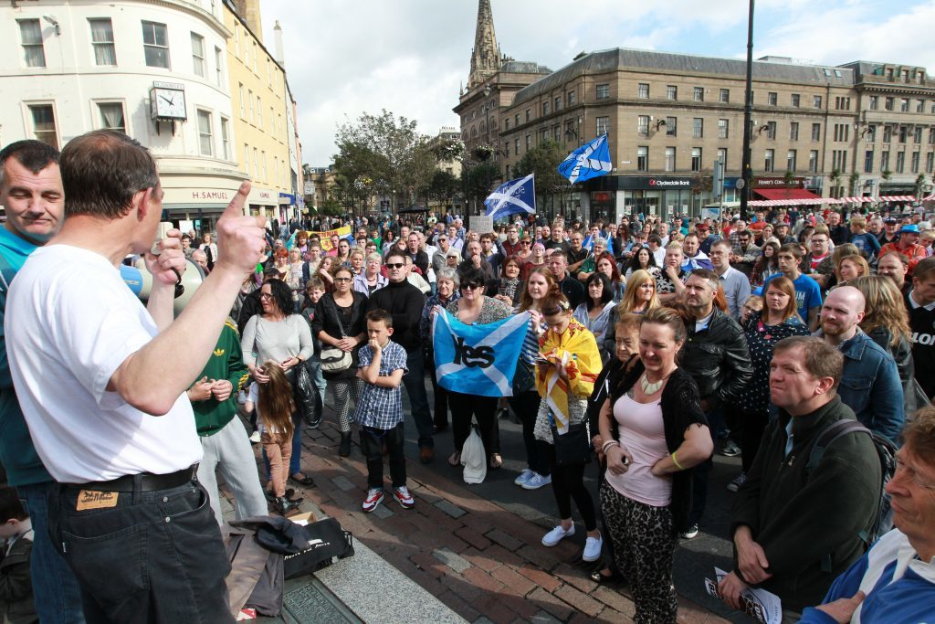 Yes campaigners holding a demonstration in Dundee city centre, against the September 18 referendum result in 2014