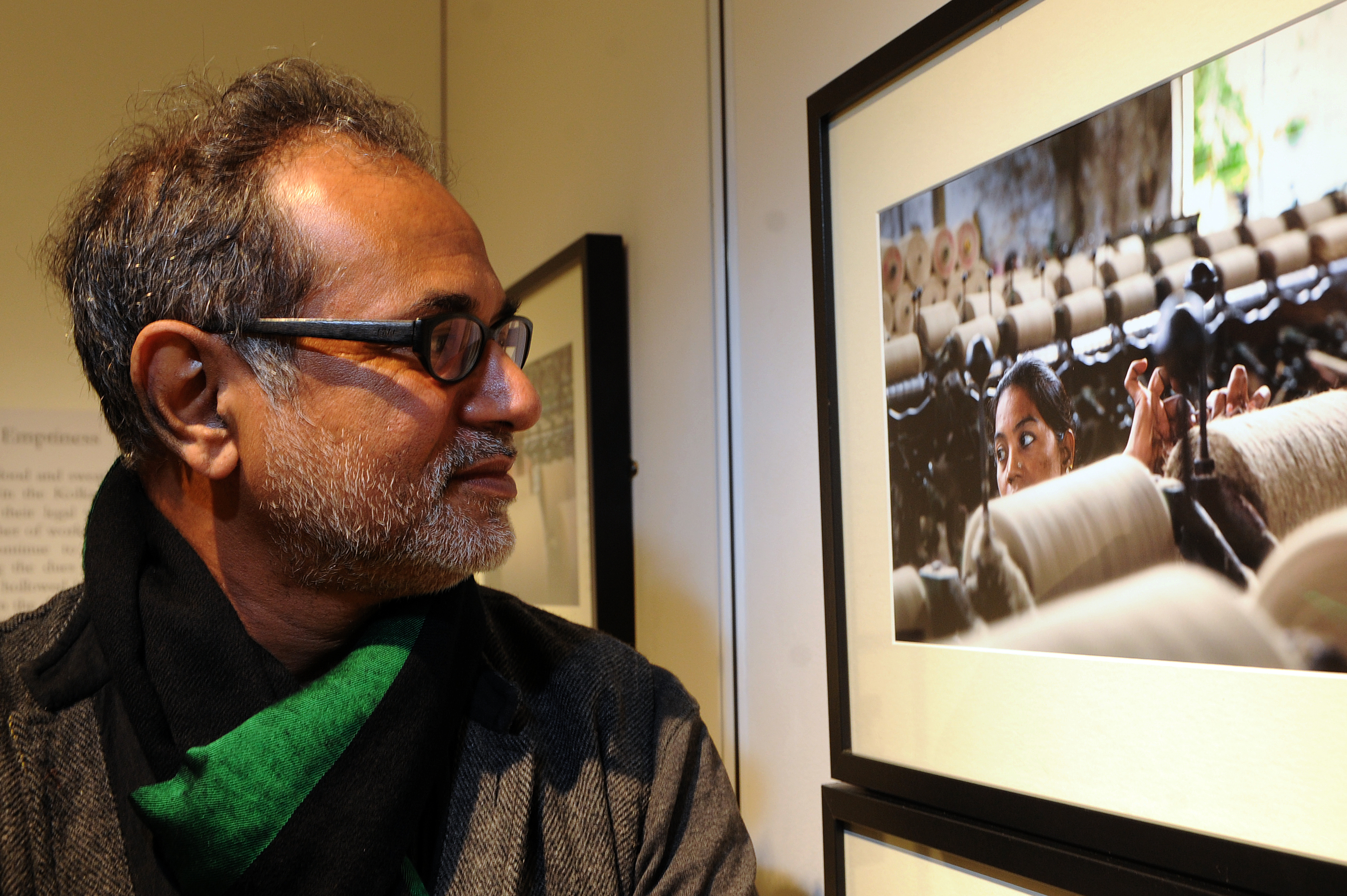 Nazes Afroz with his work.