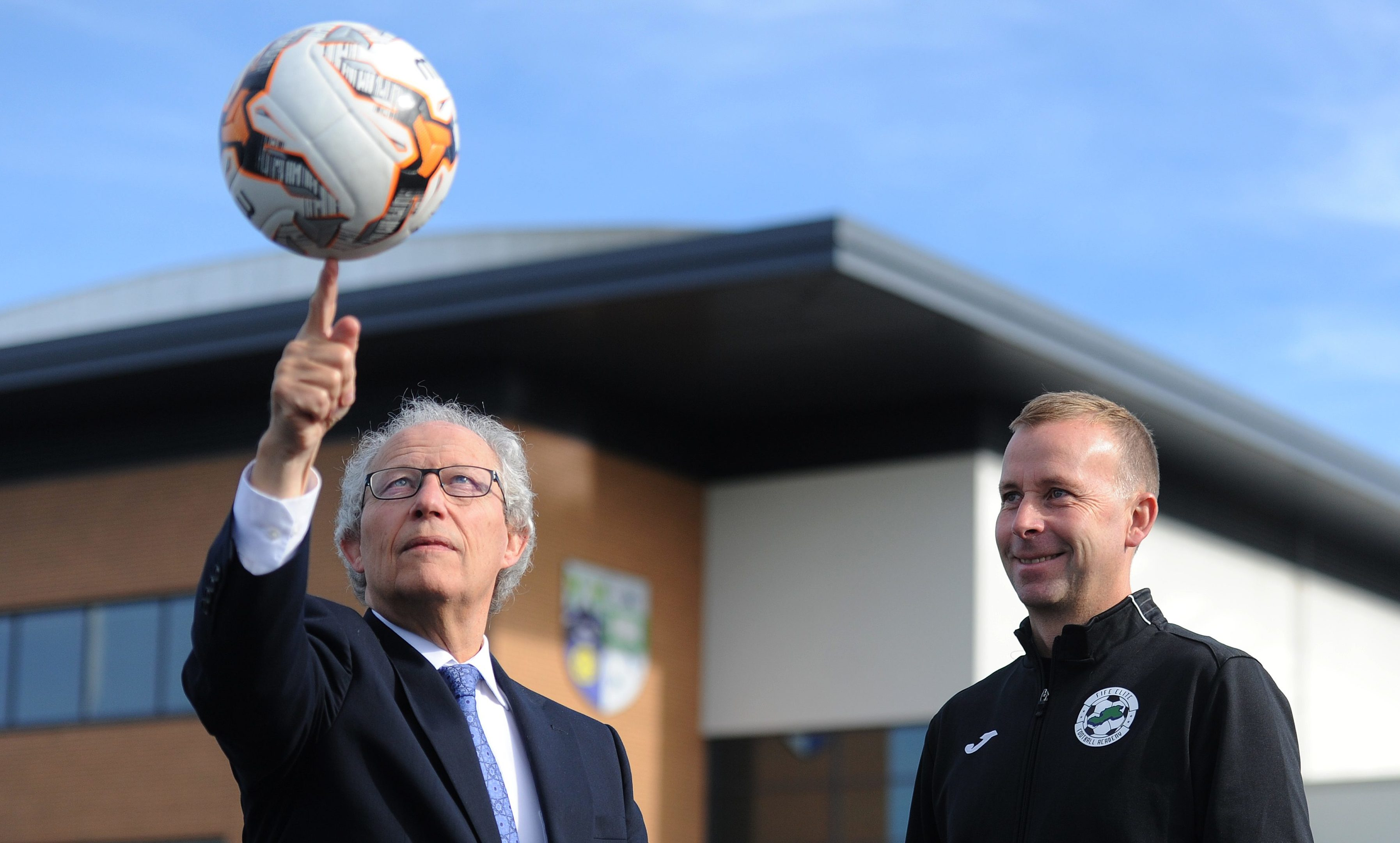 Henry McLeish and Stephen Wright, head of academy coaching, at Auchmuty High School.