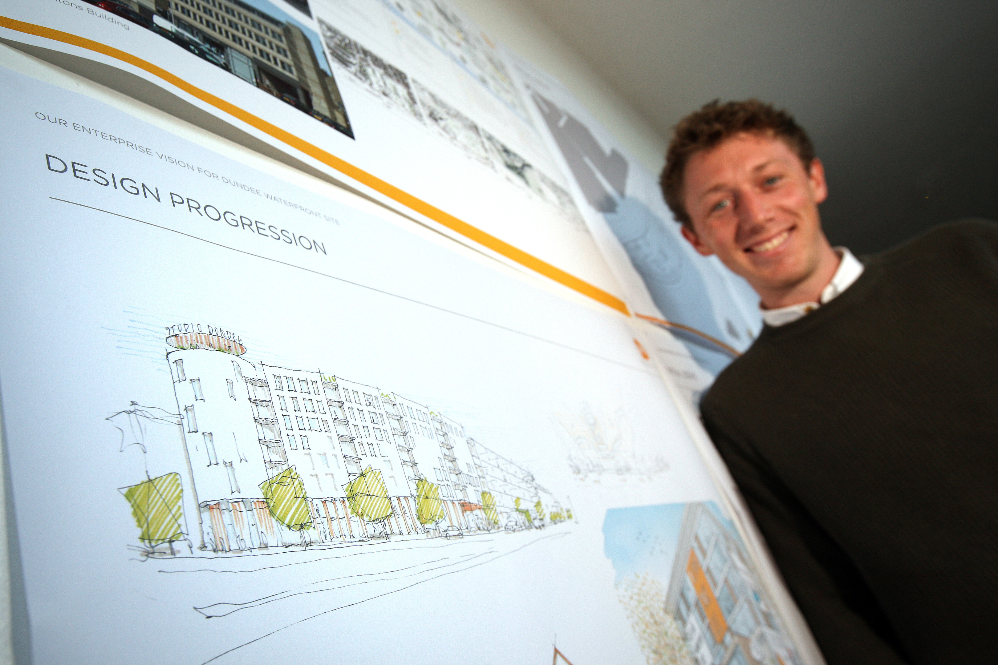 Daniel Shanahan, of HTA Design LLP consultancy, with the plans for Yeaman Shore.