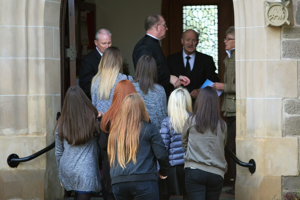 Some of Kathleen's friends entering St John the Baptist RC Church in Perth.