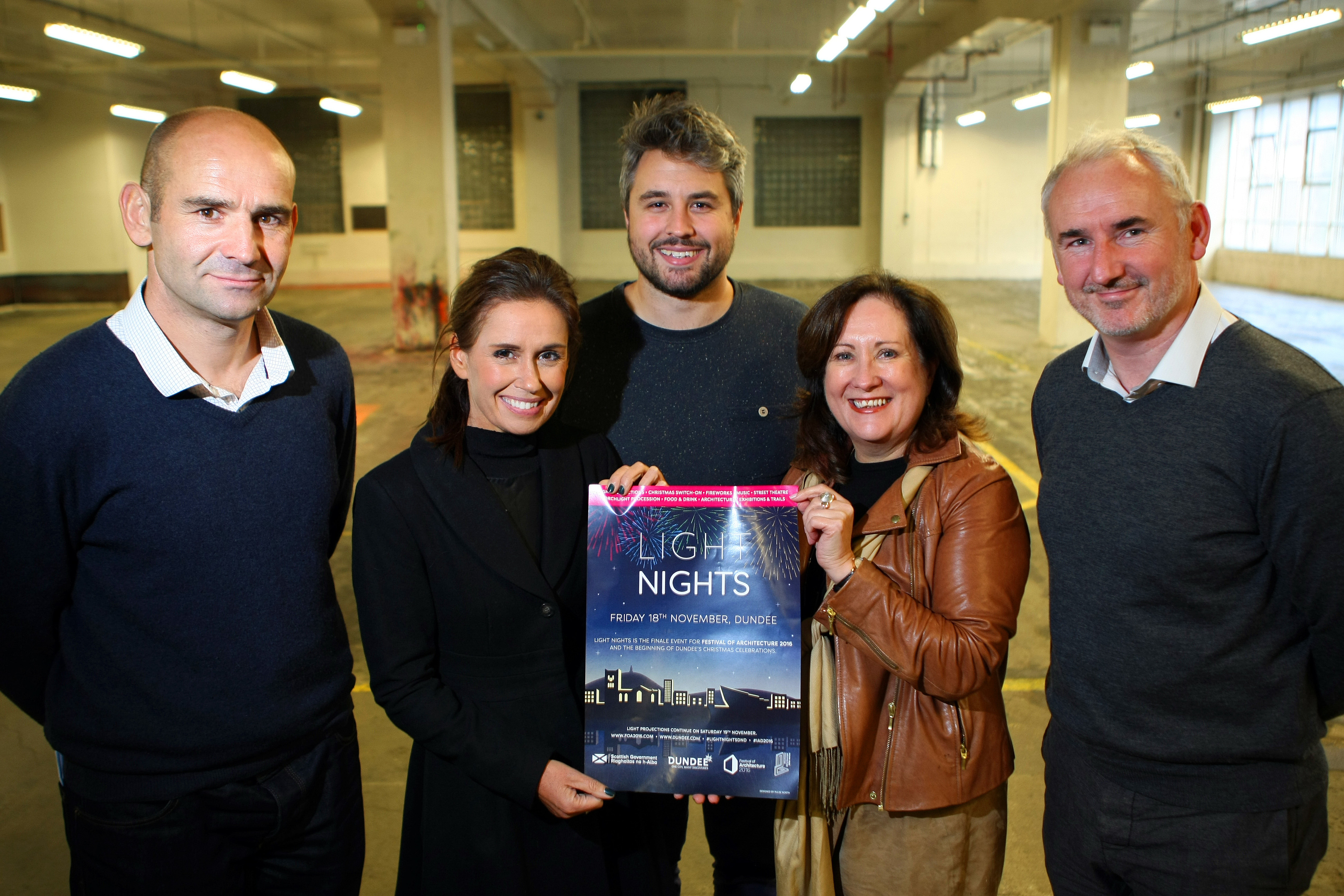 Organisers of the Light Night celebrations - L-R: Philip Levack - Nicol Russell Studios, Jennifer Caswell, Sam Patterson, Karen Cunningham and Ged Young - Festival Coordinator (Dundee chapter).