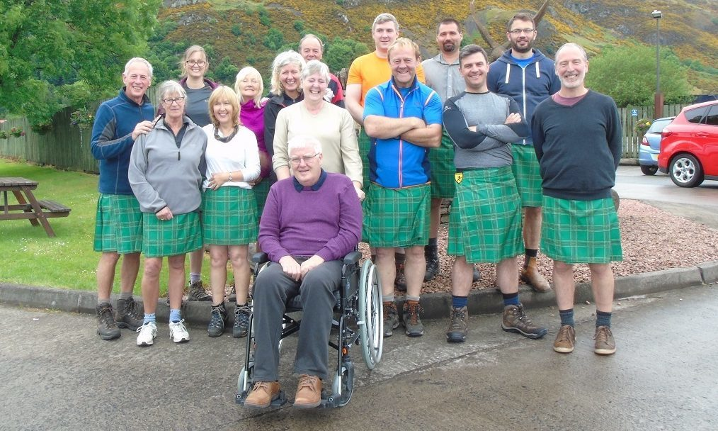 A group of tartan trekking farmers have embarked upon a charity challenge to cross the Kalahari Desert to raise funds for Motor Neurone Disease inspired by farmer Andrew Mitchell (pictured centre)