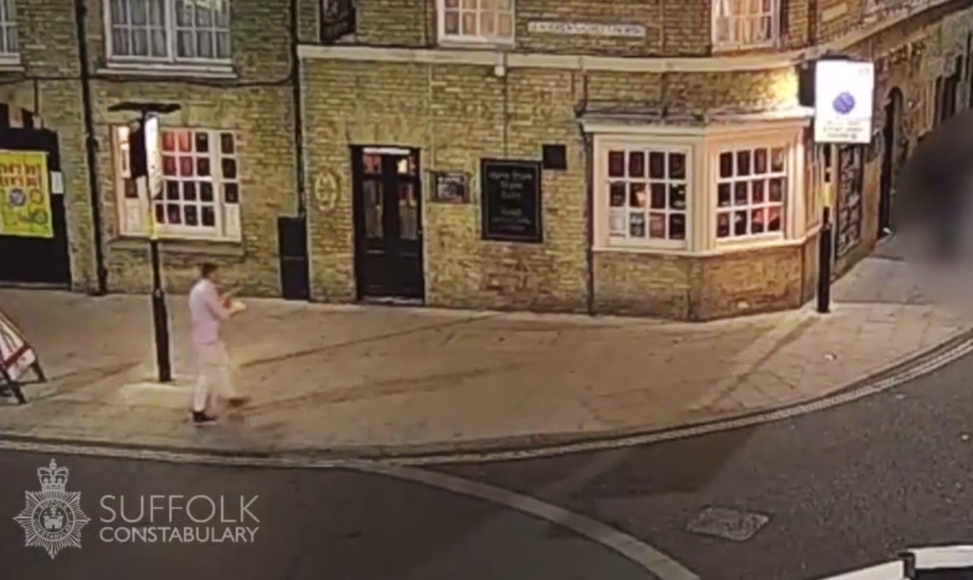 CCTV issued by Suffolk Police of Corrie McKeague on Brentgovel Street in Bury St Edmunds, Suffolk.