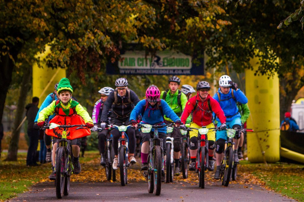 Fair City Enduro Cycling event 2016 featuring fancy dress riders.