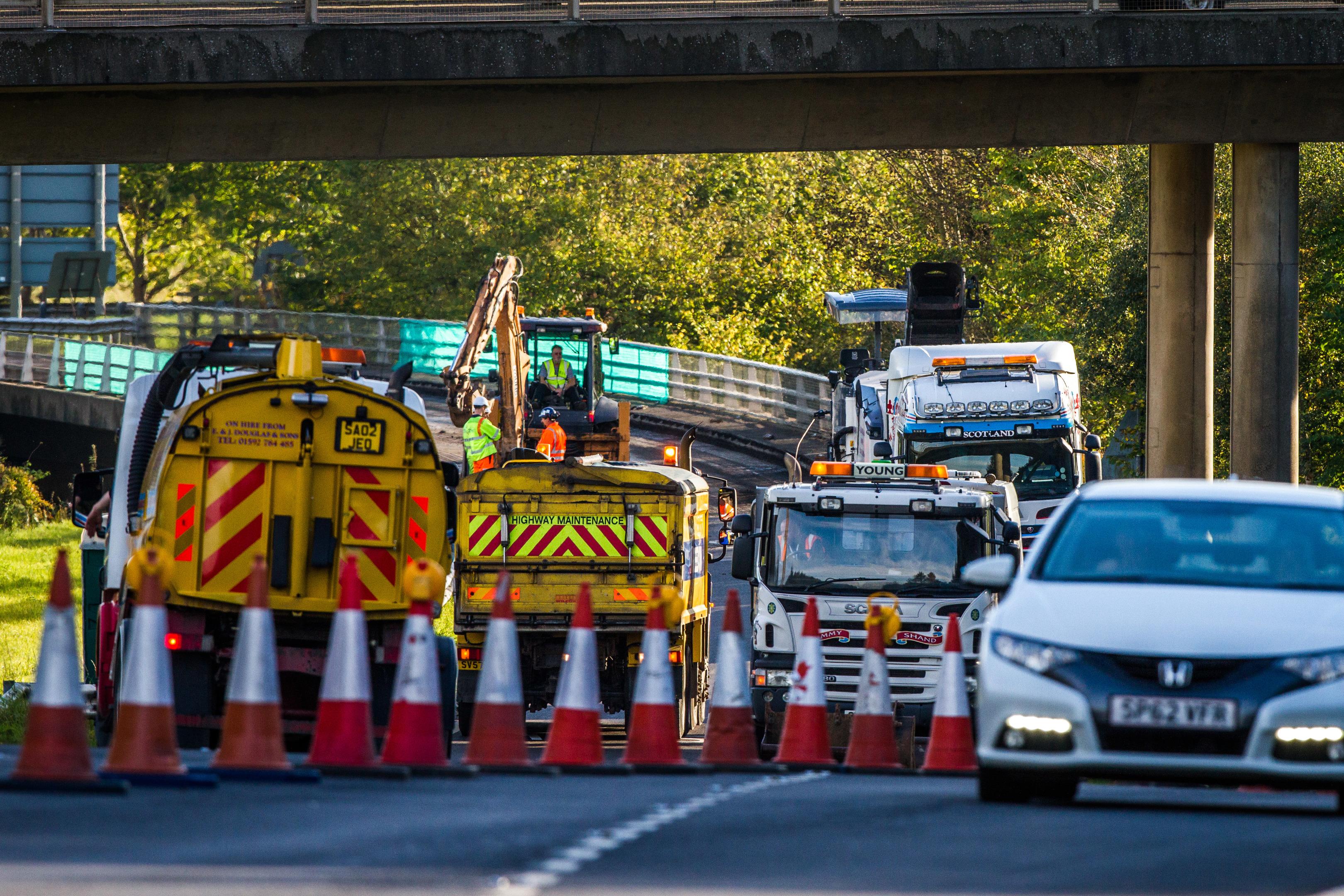 M90 roadworks at Craigend interchange off Edinburgh Road, Perth.