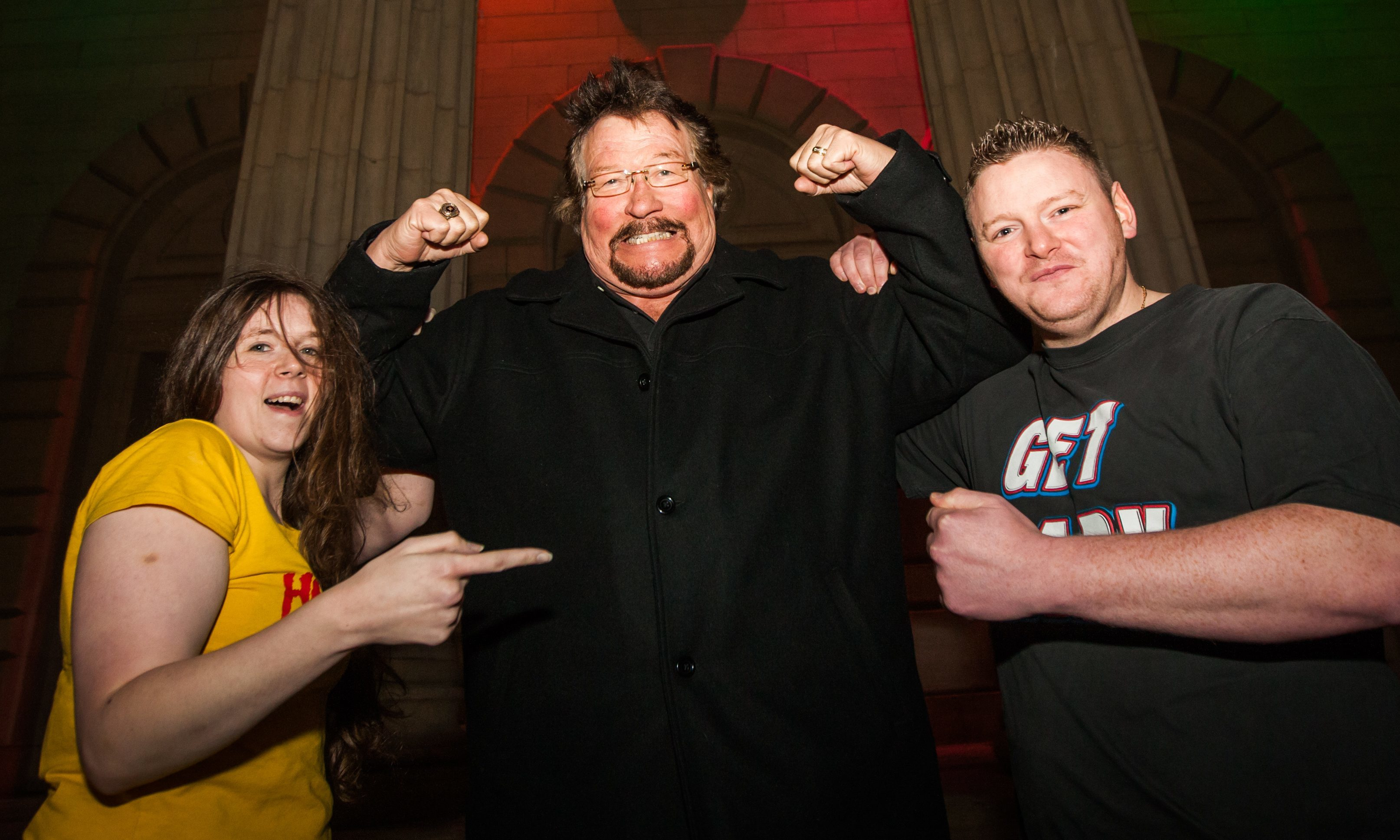 Million Dollar Man Ted DiBiase with groom Wayne Reilly and bride Vicky Nugent.