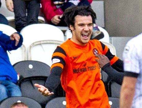 Scott Fraser celebrates a goal against St Mirren.