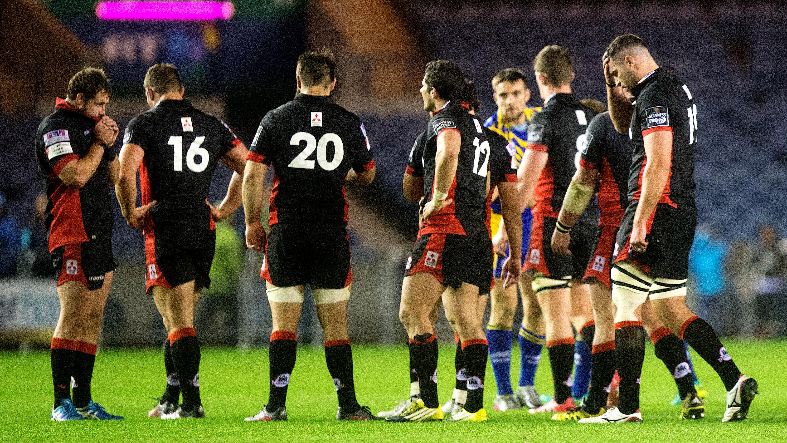 Edinburgh players contemplate their shock loss to Zebre at BT Murrayfield.