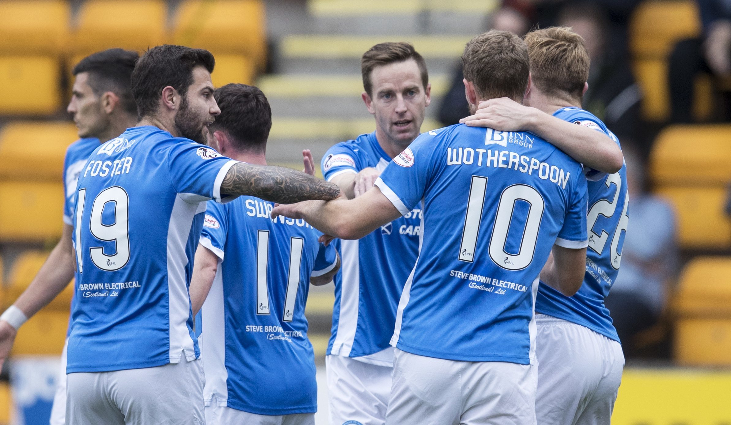 Saints players celebrate the  Steven MacLean goal.