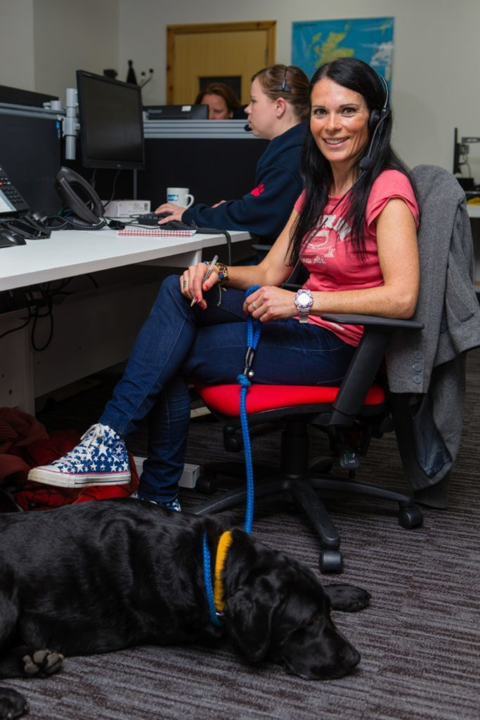 Gayle embraces Vets Now's pet-friendly policy by bringing her labrador Toby along.
