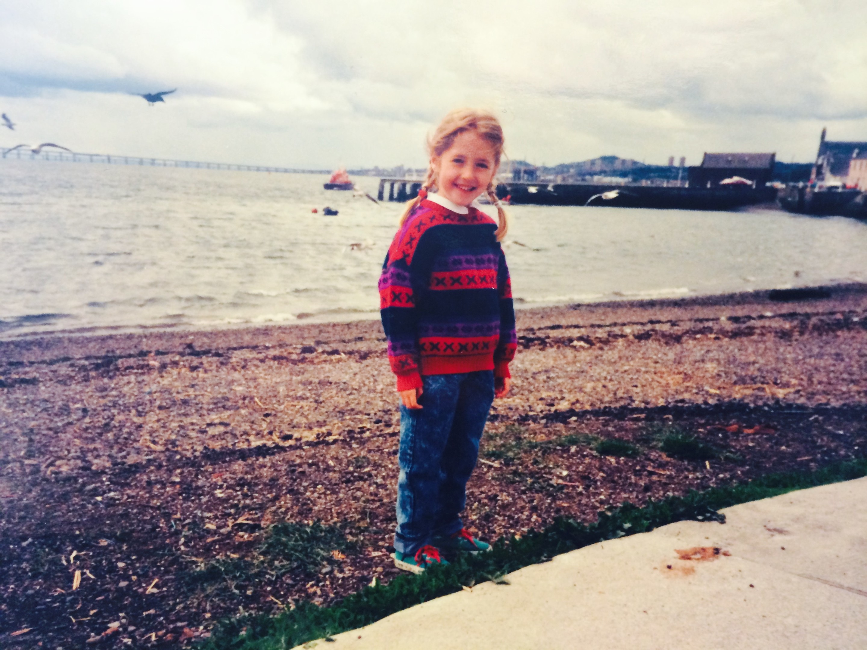 Sibeal as a child on Broughty Ferry beach.