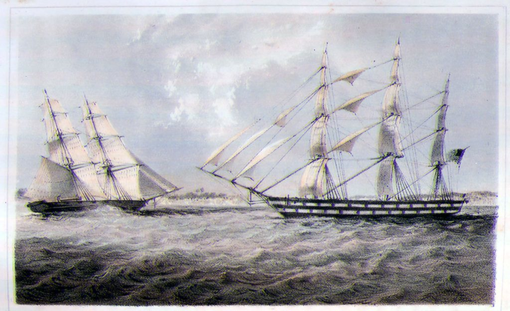 """Left, U.S. Naval Brig """"Perry"""" ; right, American slave ship """"Martha,"""" off Ambriz. Foote, a commander in the U.S. Navy, commanded the """"Perry"""" while on duty on the West African coast, 1850-51. The """"Martha,"""" with a New York registration, was """"seized as a prize"""" off Ambriz, south of the Congo river in present-day Angola. No slaves were on board at the time, but the vessel was equipped with 176 casks of water (each holding 150 gallons), 150 barrels of farine (""""for slave food""""), several sacks of beans, 4 """"iron boilers for cooking slave provisions,"""" iron bars """"with the necessary woodwork, for securing slaves to the deck,"""" and 400 spoons """"for feeding them."""""""