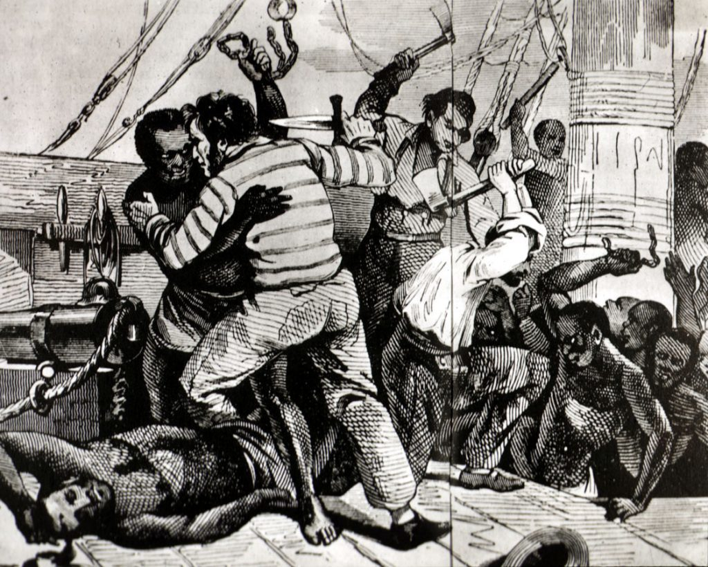 Revolt on a 19th century slave ship - Africans and Europeans fighting with weapons on top deck.