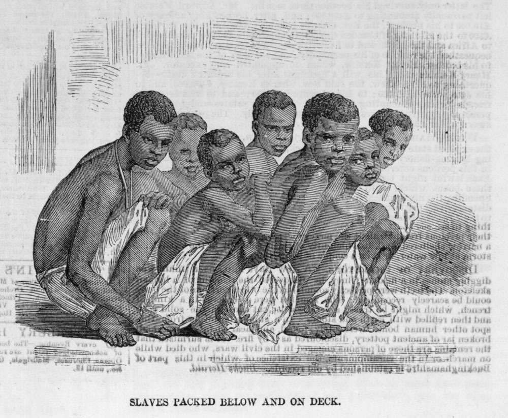 """An image from the Illustrated London News in 1857 showing slaves packed below and on deck,"""". It shows how Africans were crammed into a slave ship."""