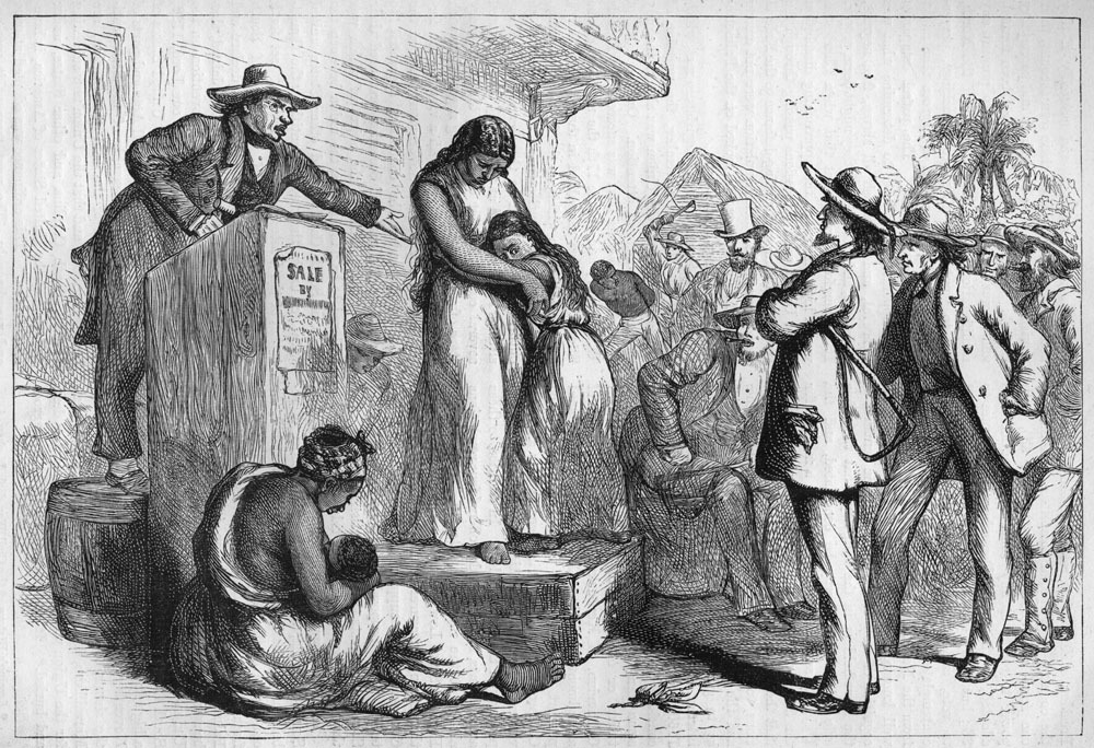 A slave auction in the mid-19th century Deep South shows an enslaved mother and her daughter on the auction block and another enslaved mother with infant waiting to be sold.