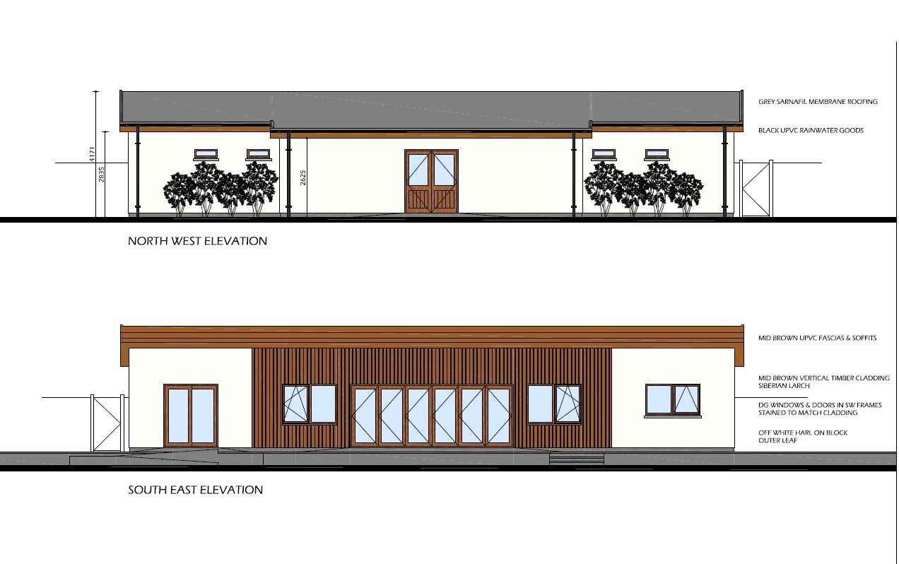 A graphic of the planned new tennis clubhouse.