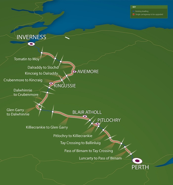 A graphic of the A9 dualling project between Perth and Inverness.