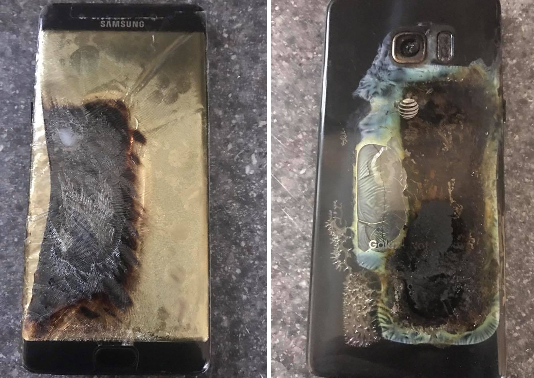 A Note 7 which fell victim to the fault.