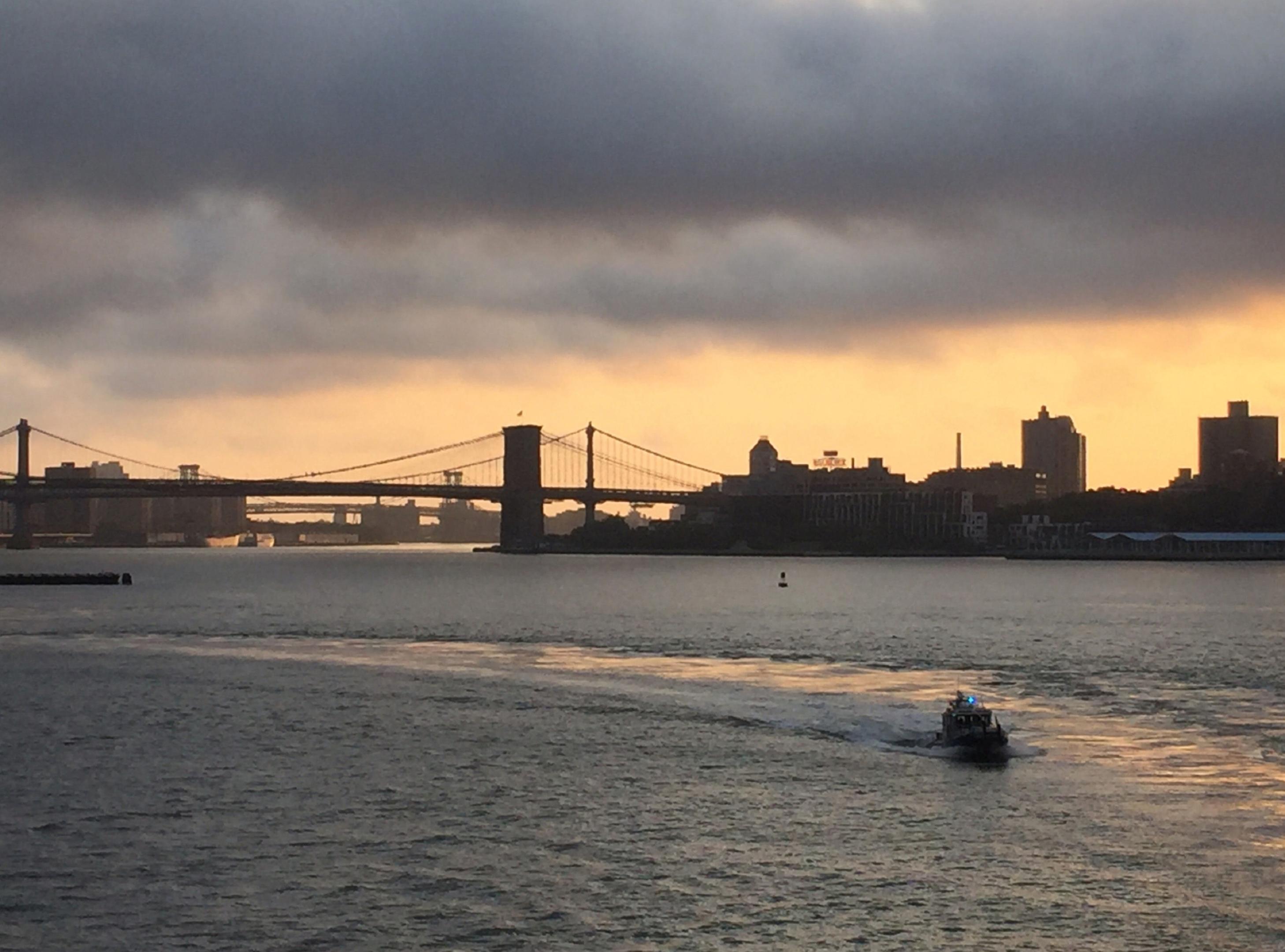 Dawn on the Hudson River.