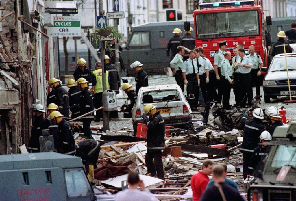 The aftermath of an explosion caused by a bomb in Market Street, Omagh in 1998.