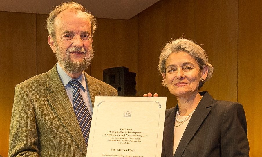 Professor Jim Scott with Irina Bolkova, director of UNESCO