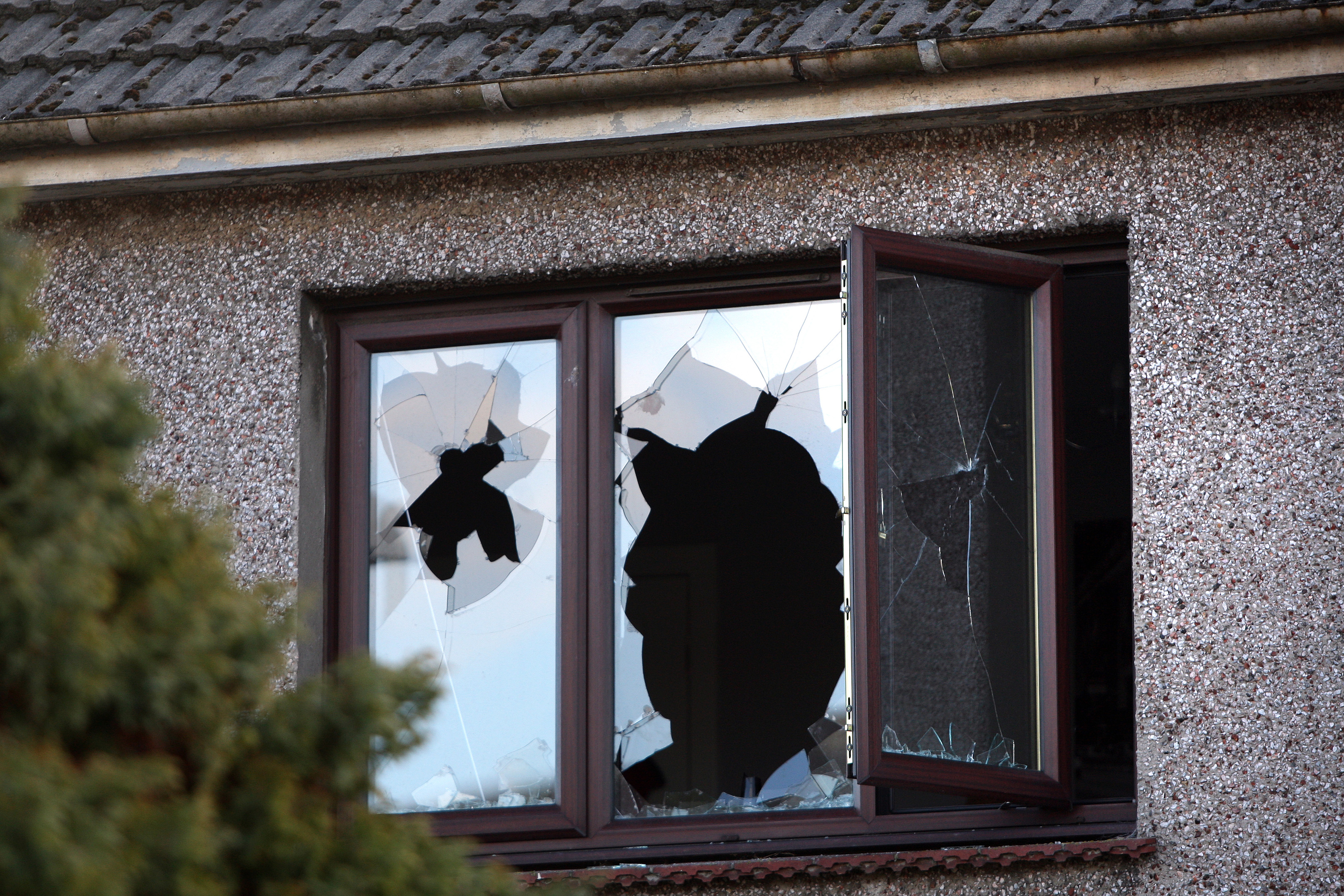 Windows were smashed at a property in Kingennie Road.