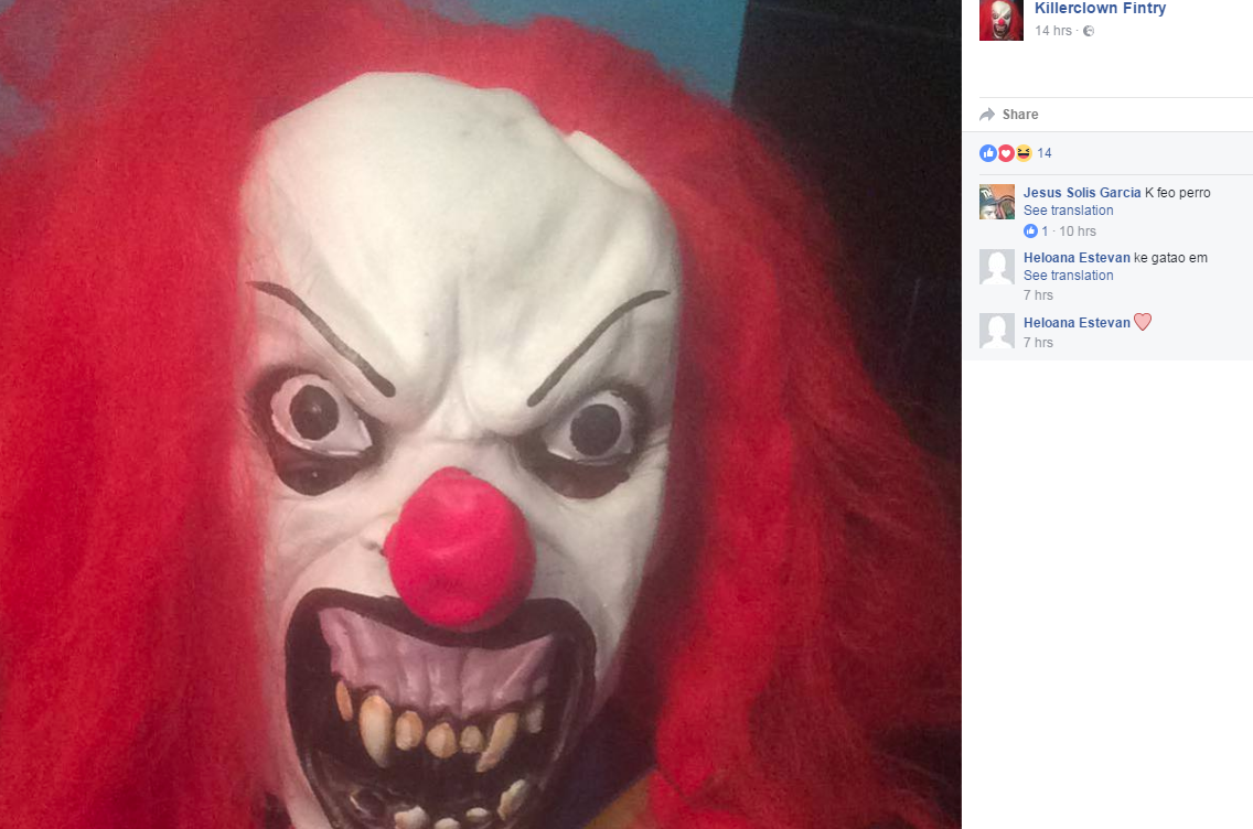 """A Facebook page has been created in the name of """"Killerclown Fintry""""."""