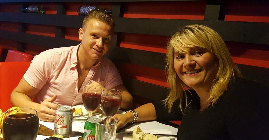 Corrie pictured with his mum Nicola Urquhart.